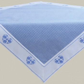 Mitteldecke Landhaus blau-weiß kariert mit Stickerei Herz 85×85