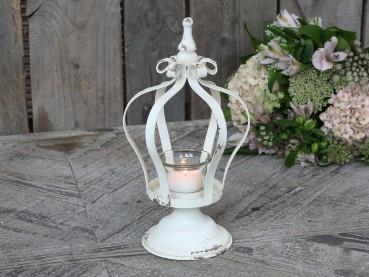 Chic Antique Teelichthalter auf Kronenfuß antik creme Shabby