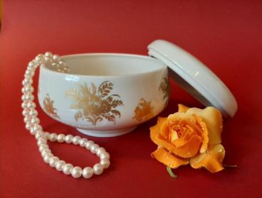 Vintage Dose Deckeldose Weiß mit Golddekor Heinrich Porzellan