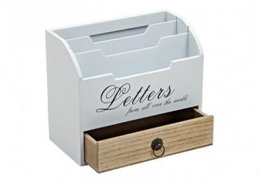 Briefhalter aus Holz weiß mit Schubfach