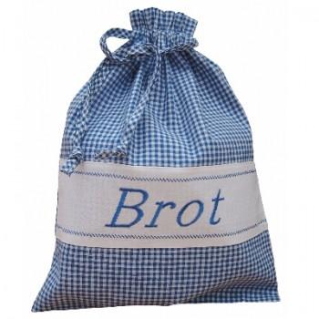 Brotbeutel aus Stoff Landhaus blau-weiß kariert