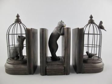 Buchstützen Katzen und Vögel im Käfig 3-teiliges Set
