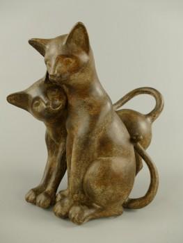 Deko Katzenpaar Braun im Antik Look