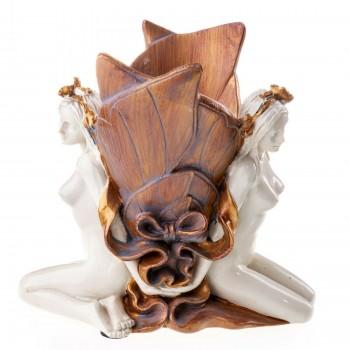 Vase mit 2 Frauenfiguren aus Polyresin im Jugendstil
