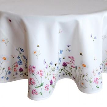 """Tischdecke rund Motiv """"Wiesenblumen""""  Ø 150 cm"""