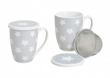 Teebecher, Teetasse mit Sieb und Deckel