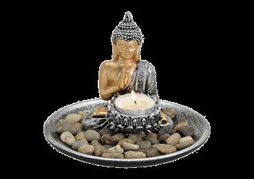 Teelichthalter-Set Buddha mit Teller inkl. Dekosteinen