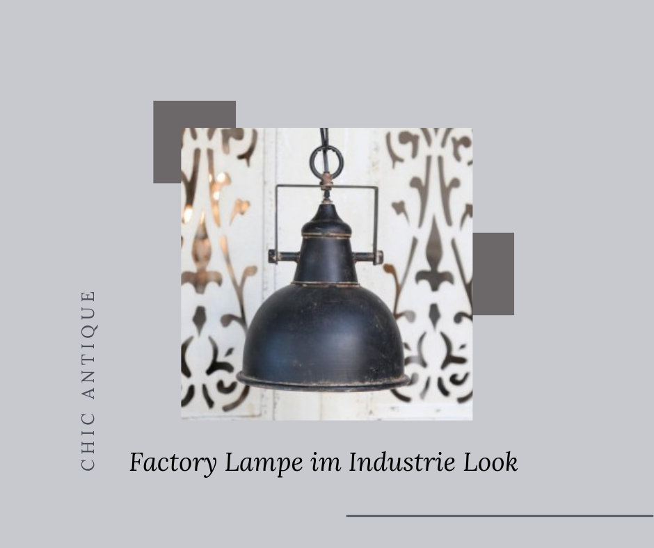 Factory Lampe in Antik Schwarz im Industrie Look von Chic Antique