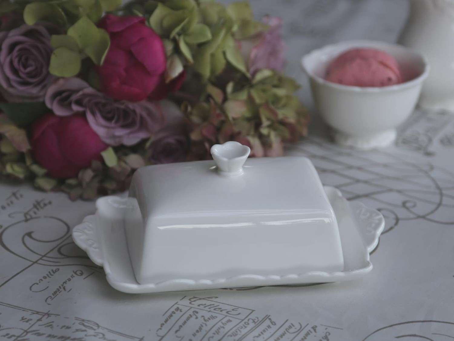 franzoesischer Landhausstil chic Antique Butterdose Provence