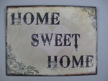 Blechschild Home Sweet Home - Shabby Look