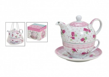 "Teekannen-Set Tea for one ""Pink-Rose"""