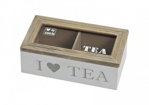 "Teebox Holz ""I love tea"" mit 2 Fächern"